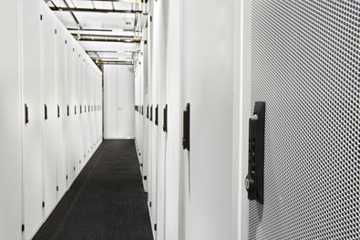 modular data center - interior cabinets angle